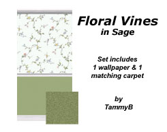 Floral Vines in Sage Preview