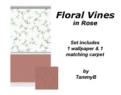 Floral Vines in Rose Preview