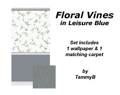 Floral Vines in Leisure Blue Preview