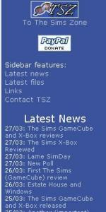 The Sims Zone Sidebar Preview