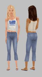 The Sims Zone tank/capri outfit Preview