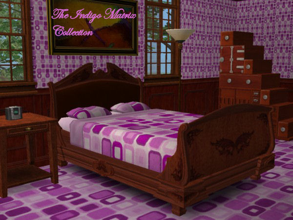 This is a bedroom, thus includes the bedsheets, wallpaper, and flooring.