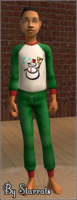 Green snowman PJ for children Preview